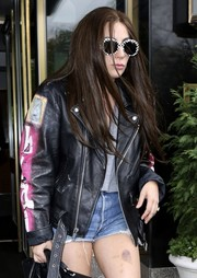 Lady Gaga stepped out in New York City wearing a cute pair of checkered sunglasses by Saint Laurent.