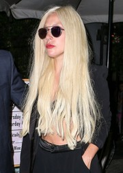 Lady Gaga went hippie with this long center-parted 'do while grabbing dinner in Beverly Hills.
