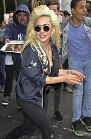 Lady Gaga wore hippie-chic round shades by Thom Browne while out and about in New York City.