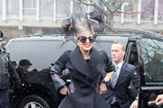 Singer Lady Gaga stops by Harvard Yard before launching her Born This Way Foundation on a snowy day on February 29, 2012 in Cambridge, MA.