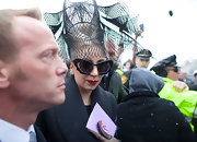 Lady Gaga was out and about in Cambridge, MA wearing a pop of rich ruby red lipstick.