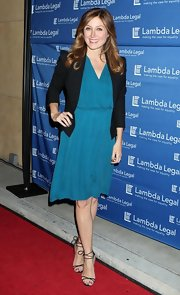 Sasha Alexander was a vision in a bright blue surplice cut dress, which she wore with a black open front blazer.