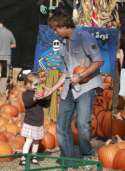 Larry Birkhead And Daughter At The Mr. Bones Pumpkin Patch