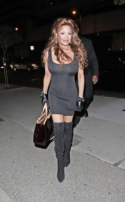 This simple gray mini tank dress was completely hot on La Toya Jackson.