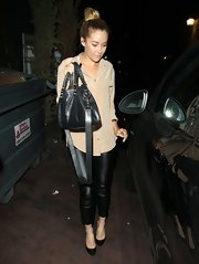 Lauren Conrad chose leather pants for her evening look while out in Hollywood.