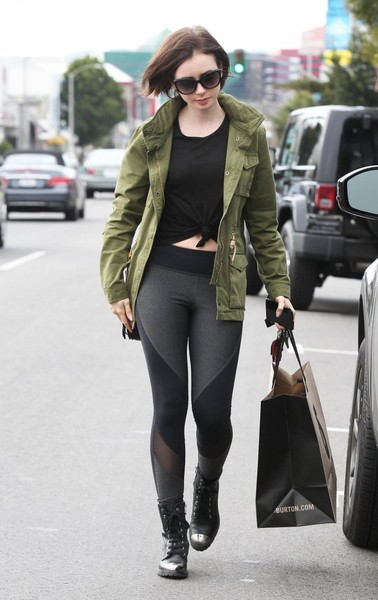 Lily Collins Combat Boots