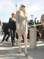 Lindsay Lohan added pep to her step with snakeskin platform pumps.