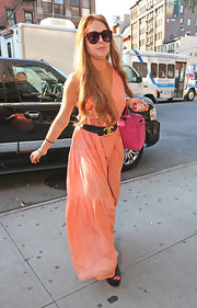 Lindsay was spotted in this peach maxi-dress returning to her hotel in NYC.