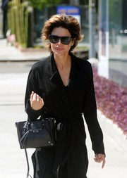 Lisa Rinna was spotted out on Melrose Avenue carrying a black Balenciaga leather tote.