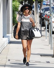 Lucy Hale blended in in a Life Psyche striped T-shirt while out and about in West Hollywood.