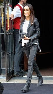 Maggie Q amped up the tough-chic vibe with a black leather jacket.