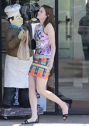 Mandy rocked a brightly colored, digital print sleeveless dress while out in Hollywood.