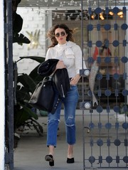 Mandy Moore ran errands in Beverly Hills looking cute in a bow-adorned white blouse by Alice + Olivia.