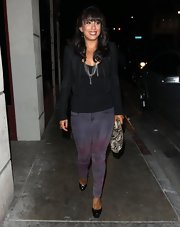 Cheryl Burke stepped out in a cropped leather jacket while out in Hollywood.