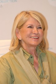 Martha Stewart wore her hair in a flippy bob while signing copies of her new book.