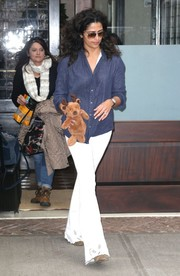 Camila Alves kept it casual in a blue button-down while out in New York City.
