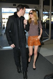 Kate Bosworth kept the cool vibe going with a pair of camel-colored leather shorts.