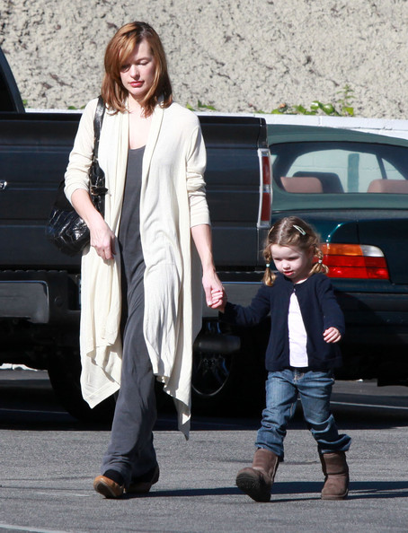 Milla Jovovich And Daughter Out For Lunch At Mel's Drive-In