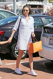Miranda Kerr looked cool and stylish in a striped blue shirtdress by Rails while out in Malibu.