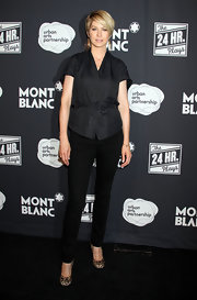 Jenna Elfman wore a pair of leopard print pumps at the debut of 'The 24 Hour Plays.'