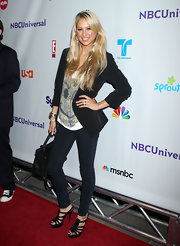 Anna Kournikova kept it casual and classy in a velvet blazer at the NBC Universal Press Tour All Star Party.