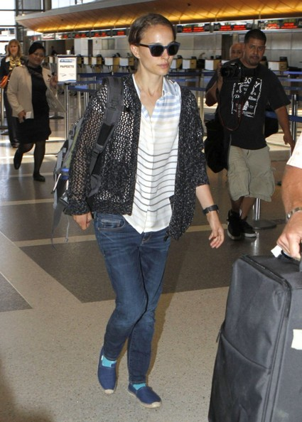 Natalie Portman & Family Departing On A Flight At LAX