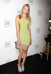 Heather donned leather peep-toe booties for the Herve Leger fashion show in NYC.