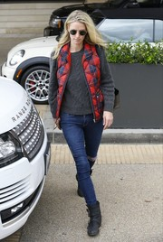Nicky Hilton teamed her top with ripped skinny jeans.