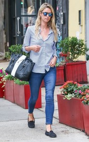 Nicky Hilton dressed down in skinny jeans and a blue button-down for a day out in New York City.