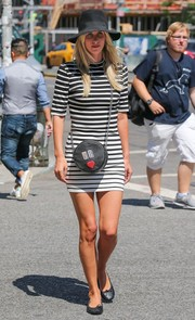 Nicky Hilton took a walk in New York City wearing a body-con black-and-white striped dress.