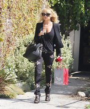 Nicole Richie was out and about in Beverly Hills with the polished black 'Spazzolato Antigona' tote.
