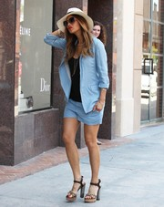 Nicole Scherzinger suited up summer style in this pastel-blue blazer and shorts combo for a doctor's appointment.