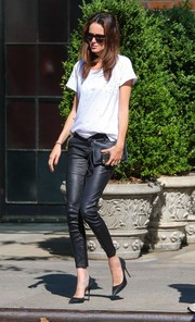 Nicole Trunfio was grunge-glam in a distressed tee and leather pants while out in New York City.
