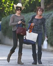 Why go with one hat when two will do? Nikki Reed sported both a baseball cap and cowboy hat while out in Hollywood.
