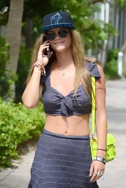 Nina Agdal kept it cool in these stylish shades.
