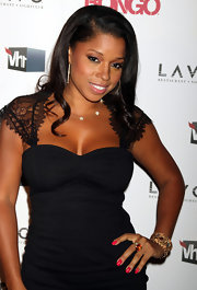Mashonda Tifere amped up her black dress with magenta nail polish.