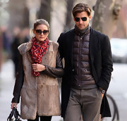 Johannes Huebl sported a brown puffa jacket while out in the West Village in NYC.