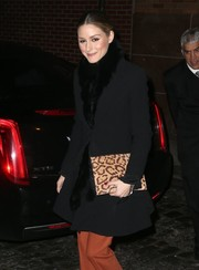 Olivia Palermo's black fur scarf was a luxurious way to keep warm!