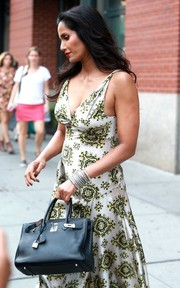 Padma Lakshmi stepped out in New York City carrying a luxurious black Hermes Birkin.