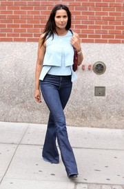 Padma Lakshmi jumped in on the flare bandwagon with these blue bell-bottom jeans.