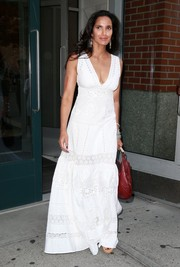 Padma Lakshmi charmed in a white eyelet maxi dress while out and about in New York City.