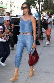 Padma Lakshmi stepped out in NYC looking very summery in a blue silk jumpsuit by Splendid.