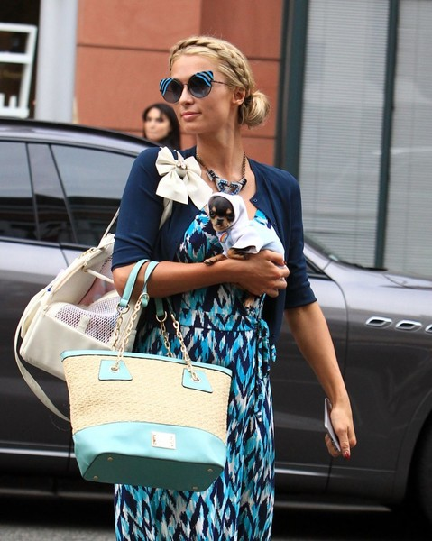 Paris Hilton's puppy traveled in style in a bow-adorned white duffle by For Pets Only.