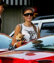 Paris Hilton wore an 'I am Love' snapback hat while shopping for groceries with her boyfriend and pup.
