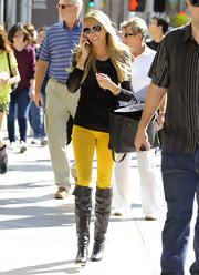 Petra Ecclestone hit Rodeo Drive in on trend canary yellow jeans.