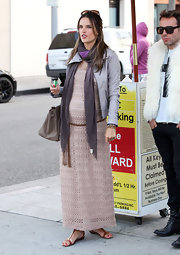 Alessandra Ambrosio wore this pale crochet Hostess Maxi dress while out for lunch in Beverly Hills.
