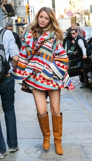Blake Lively wore a stylish pair of tan knee high boots for a shopping trip in New York.