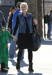 Gwen Stefani was spotted in Big Bear looking cool in a denim vest layered over an LBD.