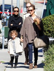 Jessica Alba kept her look casual with Women's tan suede Eliotte Toggle Ankle Boot. It was a cozy addition to her causal look.