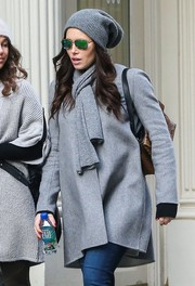 Jessica Biel bundled up with this gray wool scarf and coat combo for a shopping trip in New York.